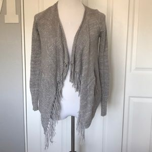 silver and gray cardigan. Size: kids 12